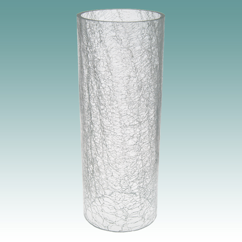 5926 Clear Crackle Glass Cylinder 4 1 4 Quot X 11 1 8