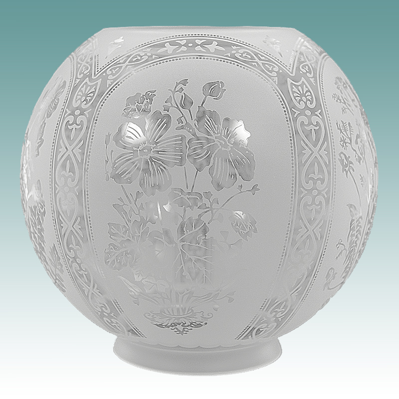 6133 Five Scene Floral Etched Gwtw Globe 8 Quot Glass