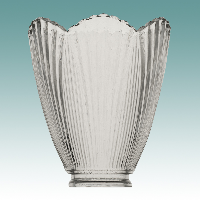 7549 Clear Ribbed Scalloped Edge Shade Glass Lampshades