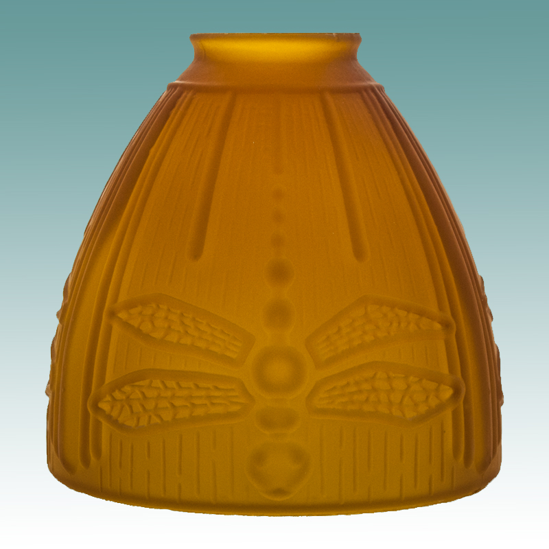 7589 Amber Etched Dragonfly Shade Glass Lampshades