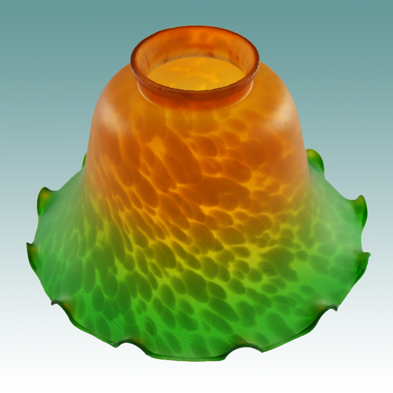 #7644 - Amber/Green Fluted Bell Glass Shade - Glass Lampshades