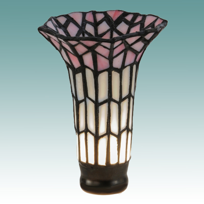 #8873 - Large White & Pink Tiffany Lily Shade - Glass Lampshades